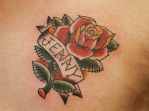 Punk-ish Rose Name Tattoo