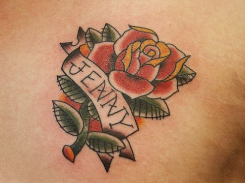 27 intriguing name tattoos tattoo me now for Name with rose tattoo