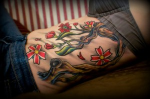 Color Flowers Ribcage Tattoo