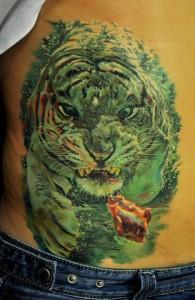 3D White Tiger Tattoo