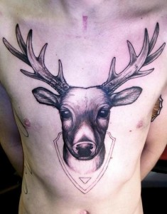 Deer Tattoo on Chest