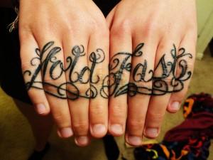 Inscription Knuckle Tattoo