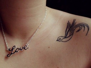 Single Dove Collar Bone Tattoo