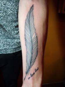 Long Feather Forearm Tattoo