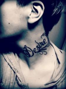 Inscription Neck Tattoo