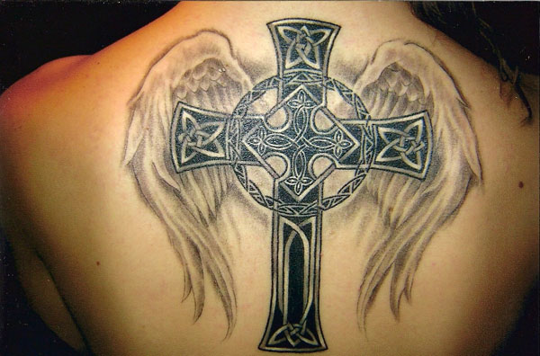 Celtic Cross Tattoo With Wings