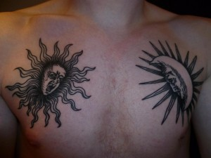 Sun and the Moon tattoos for men
