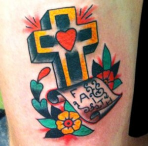 Colorful Cross Tattoo