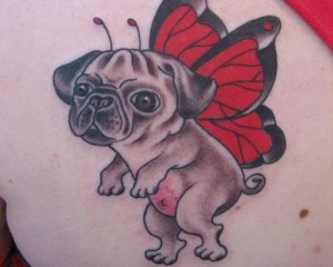Pug With Butterfly Wings Tattoo
