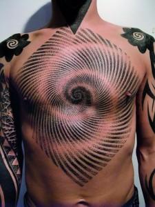 Bold chest tattoo