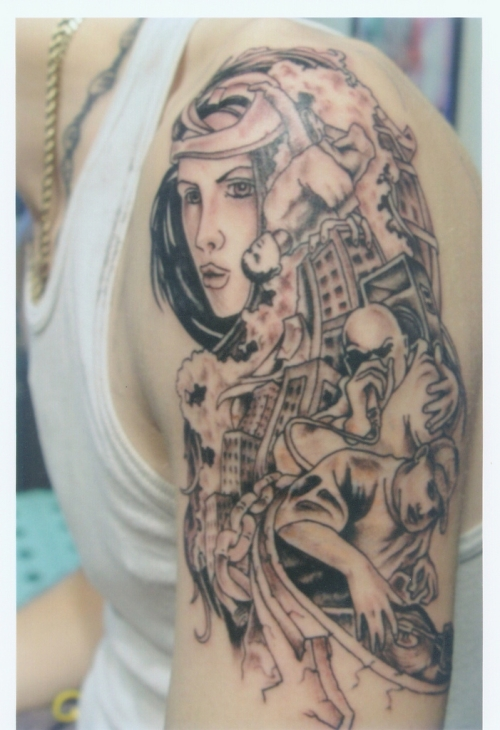 c4787df32b300 Tribal Woman Tattoo. A nice gray scale tribal woman tattooed upon this man's  ...