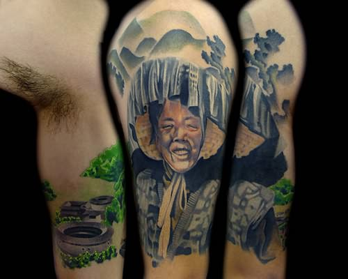 chinese tattoo on shoulder