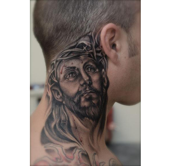 christian tattoo on neck