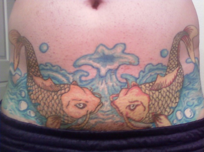 koi fisht tattoo on waist