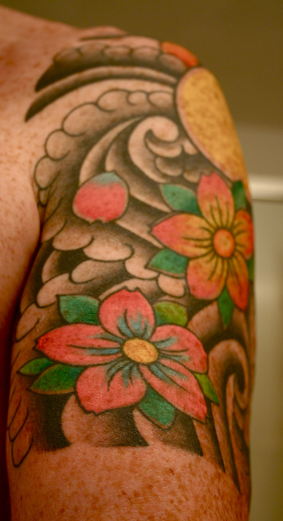 cherry blossom tattoo on arm