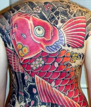 koi fish tattoo on back
