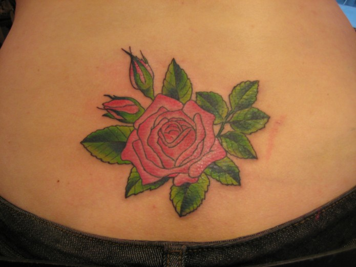 flower tattoo on waist