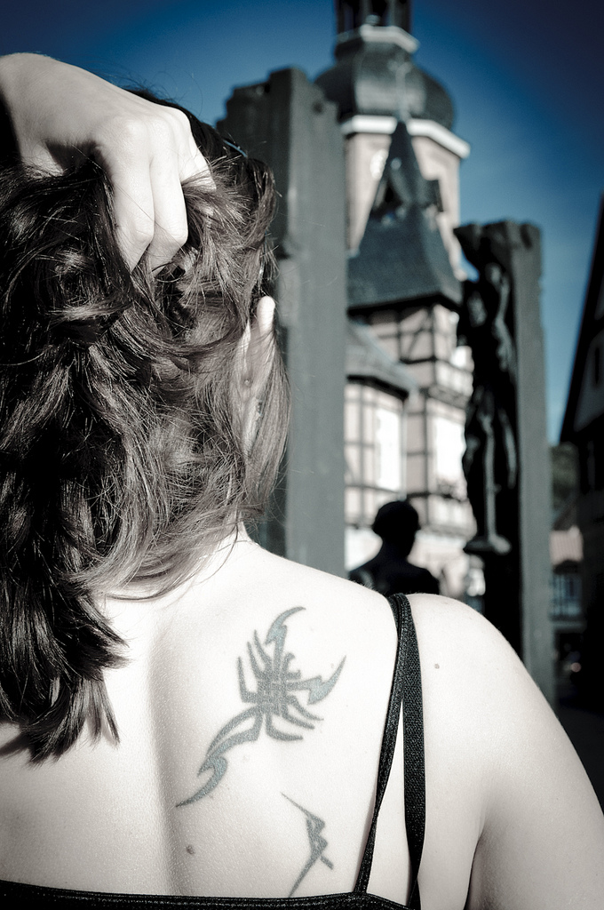 scorpion tattoo on shoulder
