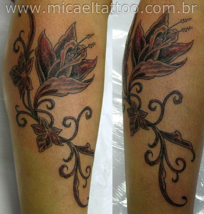 flower tattoo on calf