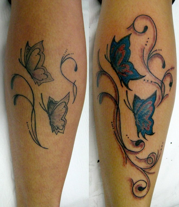 butterfly tattoo on calf