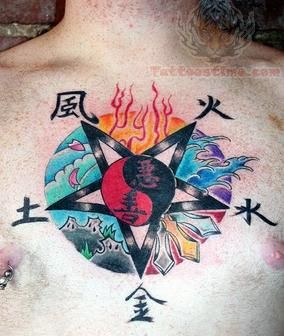 yin yang tattoo on chest