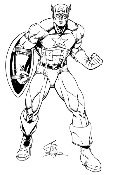 Ausmalbilder Marvel Helden Angel: Captain-america-tattoo-Sketches09