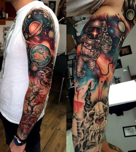 Full Sleeve Black And Grey Galaxy Tattoo Tattoo Designs Ideas