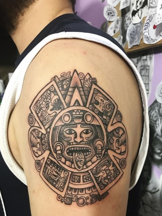 dfbfa5cdf5f07 Sun God Aztec Tattoos – Sun God Aztec Tattoos are frequently requested. But  the truth is that as far as we know the Aztec people did not have a Sun God  so ...