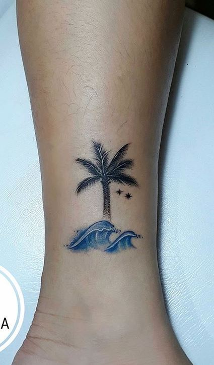Palm Tree Tattoo Ankle