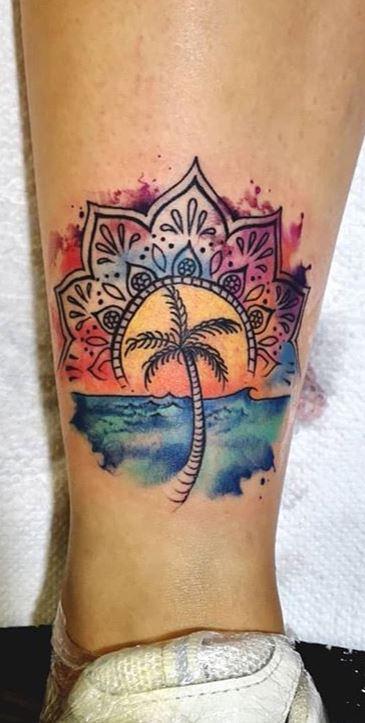 Palm Tree Tattoos Calf