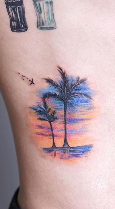 Palm Tree Tattoos rib